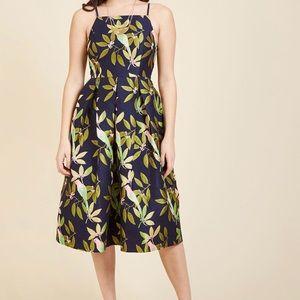 Ritz and Wisdom Midi Dress in Tropical Birds in 3X